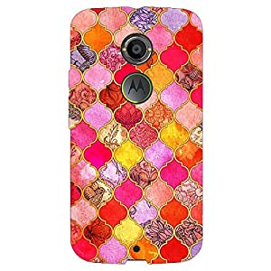 Jugaaduu Red Moroccan Tiles Pattern Back Cover Case For Moto X (2nd Gen)
