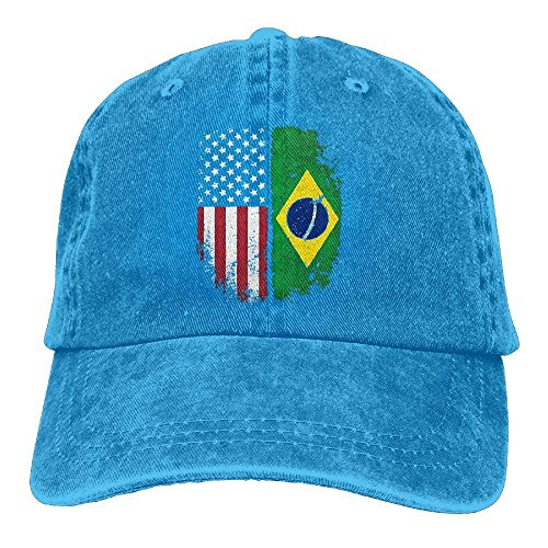 Zhgrong Caps Mens Womens Baseball Cap Vintage Brazilian American Flag Cotton Jean Dad Hat for Women ny Cap Red Hat Lady Doll