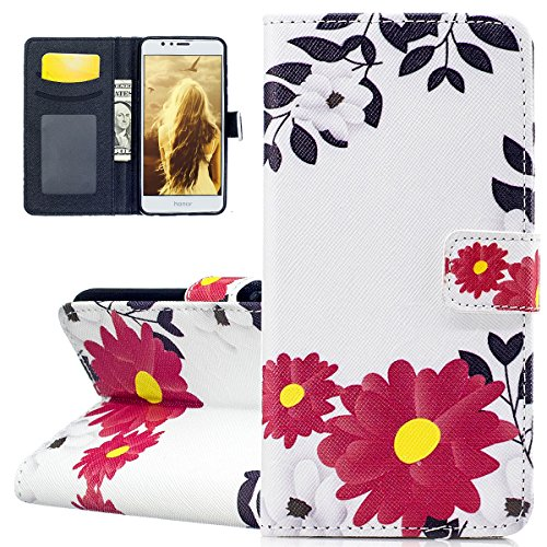 Custodia per Honor 8 - Cover per Huawei Honor 8 - ISAKEN Accessories Cover in PU Pelle Portafoglio Custodia, Elegante Embossed Pattern Design in Sintetica Ecopelle Libro Bookstyle Wallet Flip Portafog Fiori rossa
