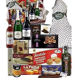 Lote de navidad con jamón/Cesta de navidad mimbre productos de primeras marcas,Paleta Serrana whisky escocés Passport, cava, vino, turrones, trufas, polvorones, mazapán.
