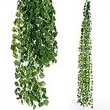 Anladia 12 Stück Künstliche Grün Efeublatt Efeu Girlanden Ivy Blätterkranz Hängen Hochzeit Party Garten Wanddekoration