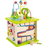 Country Critters Wooden Activity Play Cube by Hape | Wooden Learning Puzzle Toy for Toddlers, 5-Sided Activity Center with An