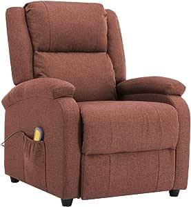 vidaXL Poltrona Massaggiante 3 Livelli 8 Zone Reclinabile Riscaldamento Sedia Massaggio Imbottita Gommapiuma Densa Salotto Relax Crema in Tessuto
