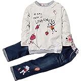 Conjuntos de Ropa Niña Otoño Invierno Anime Moderna, 1-5 años Bebe Camisetas Estampados de Dibujo Animados y Pantalones Vaque