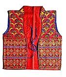 Red cotton Banjara clothing - Sleeveless Shrug - Afghnai clothing - Cotton embroidered koti