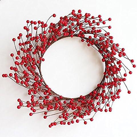 LXY Dekorative glänzende rote Beere künstliche Weihnachtskranz mit braunen Zweig Akzente - unbeleuchtet , 40cm