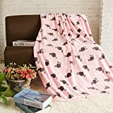 COSMOZ Fleece Blanket / Sofa Throw - Large Fluffy Bedspread 150x200 cm with Cats - Cuddly, Warm, Soft and Perfect as a Gift