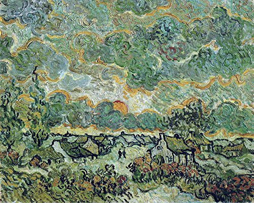Vincent Van Gogh - Cottages and Cypresses Reminiscence of the North - Large - Archival Matte - Brown Frame