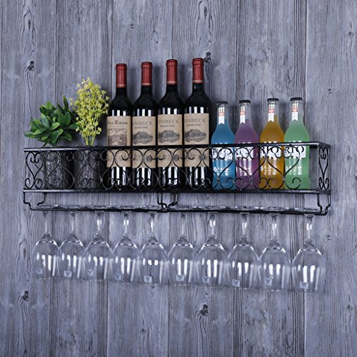 DLDL HQQ einfacher moderner Weinweinschrank, der Eisenweinregal hält, wandelte Weinregal der Wand des Wanders der Wand kreativ um (Farbe : SCHWARZ)