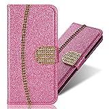 Diamond Sparkle Funkeln Bling für Huawei P Smart Plus/Nova 3i,Glitter Glitzer Ledertasche Stand Funktion Kartenfach Magnetverschluss Bookstyle Slim Klassisch Modisch Flip Wallet Hülle -