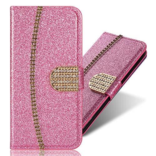 Bling Pocket BookStyle Flip für Samsung A8 2018,Folio Wallet Ledertasche Funkeln Glitzer Diamant Slim Leder Hülle Schutzhülle Scratch Bumper Stand Card Slots Shell Magnetverschluß Etui