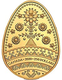 Tree of Life PYSANKA Forma Huevo Arte Popular Moneda Oro 250$ Canada 2020