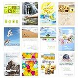 Set 12 Konfirmationskarten mit Umschlag - Glückwunschkarte zur Konfirmation - Konfirmationskarte - Set Kartenset (Doppelkarten / Klappkarten mit Briefumschlag)