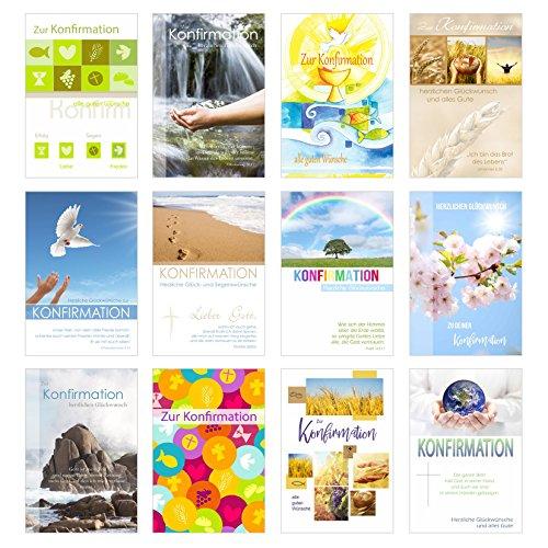 Edition Seidel Set 12 Konfirmationskarten mit Umschlag - Glückwunschkarte zur Konfirmation - Konfirmationskarte - Set Kartenset (Doppelkarten/Klappkarten mit Briefumschlag)