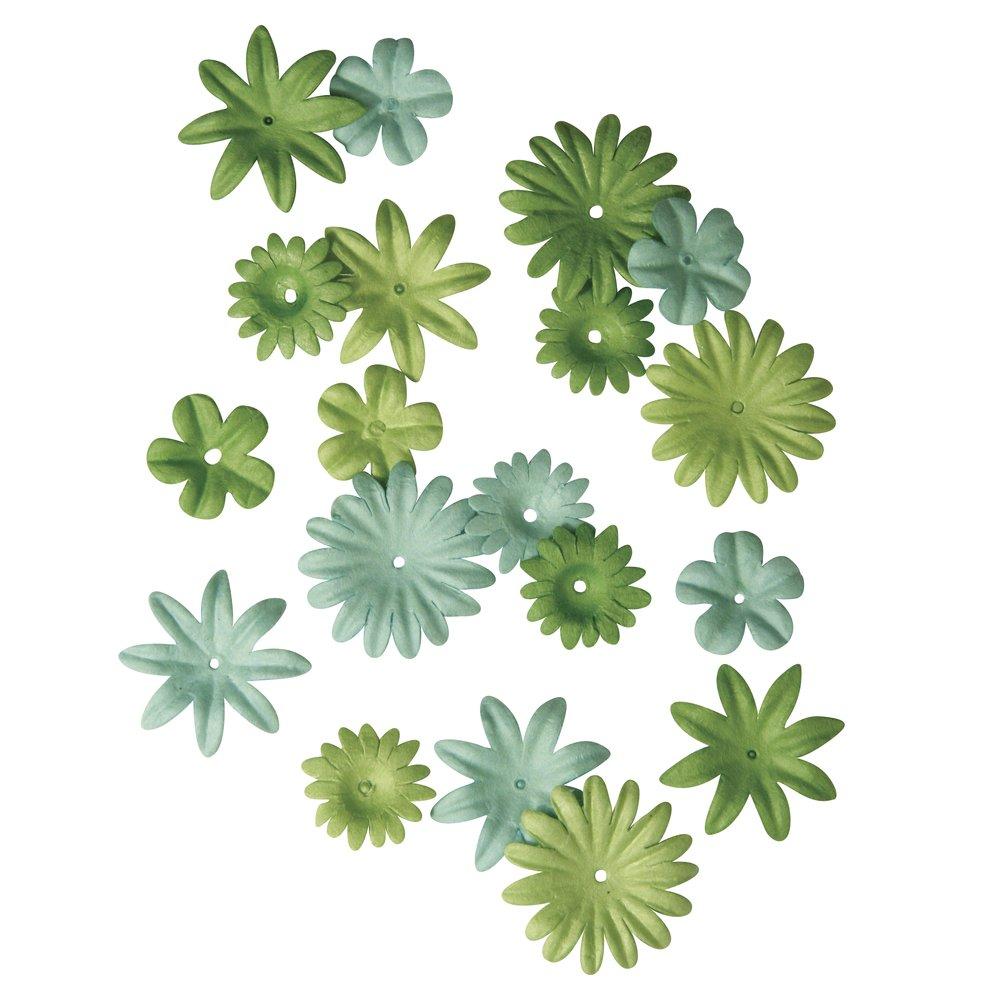 Rayher Hobby 7895529. Flores de papel (1,5–2,5cm, 4tipos, 36unidades), color verde