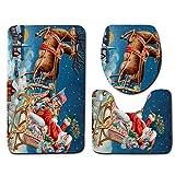 LoveLeiter 3PCS Weihnachten WC-Set WC Cover Dekorationen Badezimmer Faltbare Toilettensitze für Kinder/Baby Tragbarer Reise WC Sitz Kleinkind Töpfchen mit Aufbewahrungstüte WC-Sitzwärmer(H)