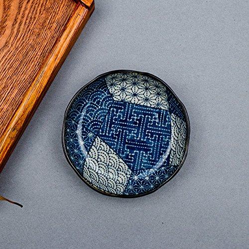 Yuwanw del giappone importazioni di giapponese in ceramica da tavolo circolare disco piatto vassoio creativo home coreano piatto piatto vassoio da colazione, antica macchiato blu piattino 10.5cm