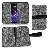 UC-Express Filz Tasche für Samsung Galaxy S9/S9 Plus Hülle Cover Handy Case Schutzhülle, Farben:Dunkel Grau