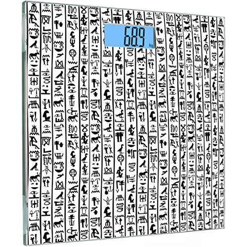ise Sensoren Digitale Körperwaage Ägyptisch Gehärtetes Glas Personenwaage, Vertikale Grenzen mit Hieroglyphen Alphabet Antike Symbole Kulturell, Schwarz Weiß, ()