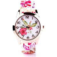 TIMESOON Analogue Girl's & Women's Watch (Multicolour Dial Pink Colored Strap)