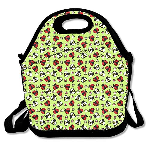 82ee9f099ad2 Bees And Ladybugs Lunch Bag Tote Handbag Lunchbox For School Work Outdoor  11x11x5.5 Inch