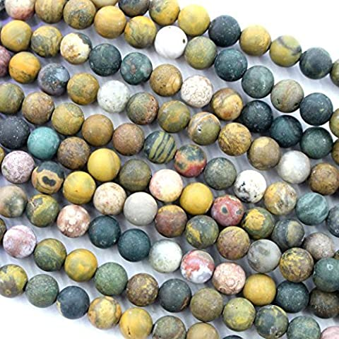Natural Frosted Unpolished Ocean Jasper Round Gemstone Jewelry Making Loose Beads (6mm) by fashiontrend-us
