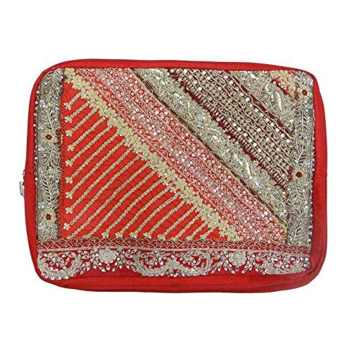Ethnische handgemachte Gestickte Perlen Barren Laptop Bag Banjara Patchwork-Kasten Mehrfarben-10