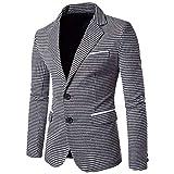 Herren Blazer Männer Nner Slim Fit Karo Sakko Bekleidung Anzug Kariert Design Hochzeit Freizeit Party Hochzeitsanzug Smoking (Color : Schwarz, Size : L)