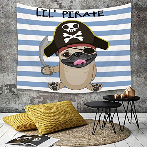 Tapestry, Wall Hanging, Pirate, Buccaneer Dog im Cartoon-Stil Kostüm mit Schwert Lil Pirate gestreiften Hinterg,wall hanging wall decor, Bed Sheet, Comforter Picnic Beach Sheet home décor 130 x 150 - Buccaneer Kostüm