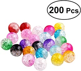SUPVOX 200pcs Crackle Glass Beads 8mm Beads Split Round Beads for Jewelry Making
