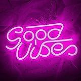 Good Vibes Neon Sign (33,5 x 17,5 cm) Cisteen LED avec plaque acrylique Décoration murale Goodvibes néon pour chambre à couch
