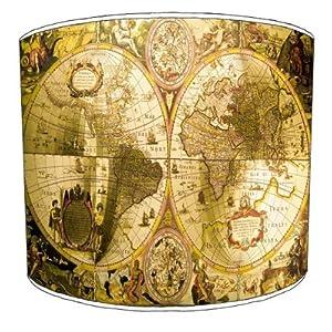 Premier Lampshades–Tabla Vintage mapa tambor lámpara tonos