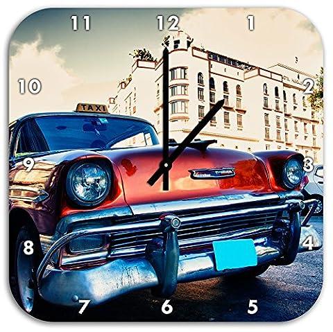 Oldtimer auf den Straßen Havannas, Wanduhr Quadratisch Durchmesser 48cm mit schwarzen spitzen Zeigern und Ziffernblatt, Dekoartikel, Designuhr, Aluverbund sehr schön für Wohnzimmer, Kinderzimmer, Arbeitszimmer