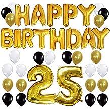 KUNGYO Letras Tipo Balón Doradas HAPPY BIRTHDAY+Número 25 Mylar Foil Globo+24 Piezas Negro Oro Blanco Globo de Látex- Perfecta 25 Años de Antigüedad Fiesta de Cumpleaños Decoraciones