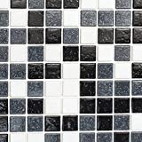 Mosaik Fliese Glas weiß grau schwarz für BODEN WAND BAD WC DUSCHE KÜCHE FLIESENSPIEGEL THEKENVERKLEIDUNG BADEWANNENVERKLEIDUNG Mosaikmatte Mosaikplatte