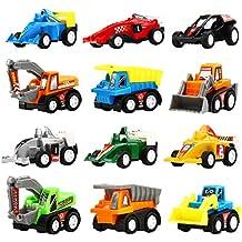 Vehículos Juguetes, 12 Paquetes de Juguetes de Coches de Construcción Variada, Juguete de Mini Camión y Coche de Yeonhatoys para Bebé Niños, Juguete de Coche de Tirar Hacia Atrás y Ir