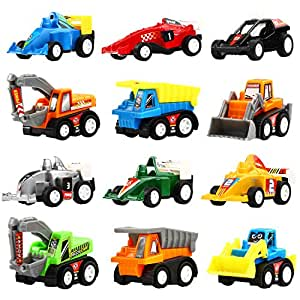 pull back vehicles 12 pack assorted construction vehicles and raced car toy yeonhatoys vehicles. Black Bedroom Furniture Sets. Home Design Ideas