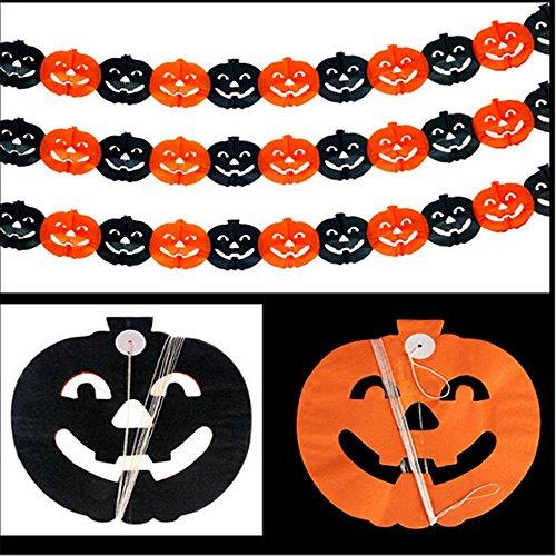 (MAXGOODS 3 Stk Scary Girlande Kürbis Spinne Hanging Ghost Papier Halloween Spuk Haus Dekor - Schwarz Gelb Kürbis - 16*18cm)