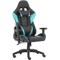 Futurefurniture®Gaming Stuhl,gamingstuhl,Gaming Sessel,Gaming Chair,mit Kopfstütze und Lendenkissen,Farbe:Blau