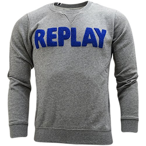 Replay Herren Pullover Sweatshirt, Einfarbig schwarz schwarz Grau