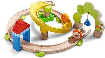 Haba 300439 - Kugelbahn Kullerbü - Kringelbahn, Holzkugelbahn mit vielen Kurven und Glöckchentor, Spielzeug ab 2 Jahren