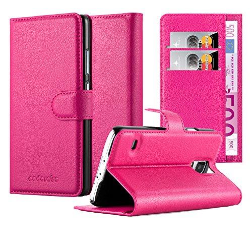 Preisvergleich Produktbild Cadorabo - Book Style Hülle für Samsung Galaxy S5 / S5 NEO (SM-G900F) - Case Cover Schutzhülle Etui Tasche mit Standfunktion und Kartenfach in CHERRY-PINK