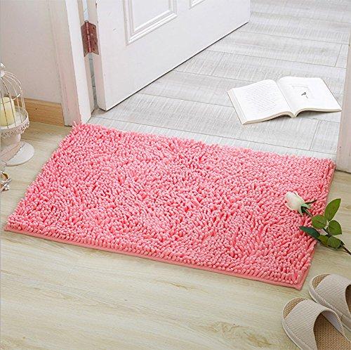 Badvorleger von iado/ 40x60cm Badteppich für Badezimmer, Flur, Schlafzimmer und Küche/ Rutschfester Badteppich (Pink)
