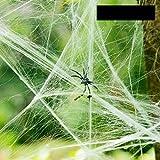Cozyswan 5 Piezas de Tela de araña para decoración de Halloween, Tela de telaraña elástica para Interiores y Exteriores, Espeluznante Tela de araña para Fiestas de Disfraces, Blanco