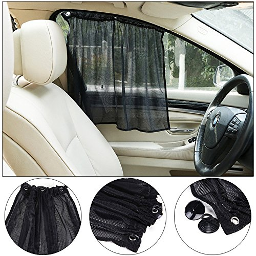Sedeta® 2pcs bouclier solaire pliable pour les fenêtres de la voiture Ventouse Black Mesh SunShade Protection UV