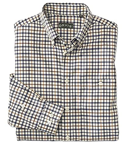 Orvis Pure Cotton Wrinkle-free Long-sleeved Shirts / Regular, Navy Multi,