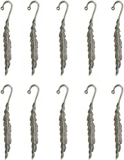 Phenovo 10 Pcs Tibetan Silver Beading Feather Bookmarks With Loop For DIY Making