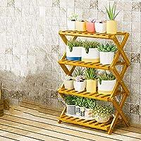 YAHAO Escalera para Flores De Bambú Estantería Decorativa para Macetas Soporte para Plantas Exterior Interior Jardín,4layers-50cm