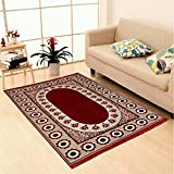 MBS Home Furnishing Ethnic Velvet Touch Abstract Chenille Carpet - 5 X 7 Feet, Oval Flowers, Maroon