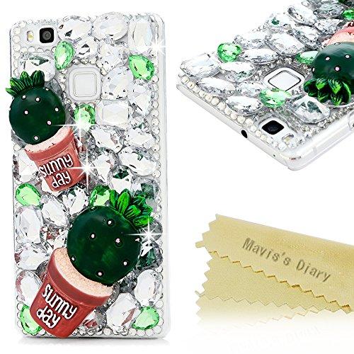 maviss-diary-huawei-p9-lite-hulle-hard-glanz-strass-3d-muster-grun-kaktus-transparent-diamant-dekora